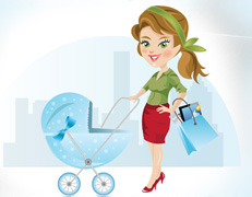 Woman Shopping logo design